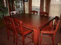 Broyhill Attic Heirloom Counter Height Table with 6