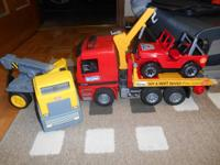 Bruder Truck, jeep, and cement mixer.  $20.  .