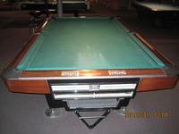 BRUNSWICK GOLD CROWN 1 POOL TABLE (4 1/2x 9) WITH BALL