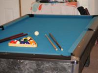 4' x 8' Full slate pool table, bumpers are spot on and