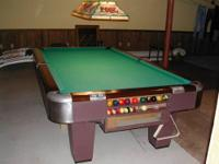 "Brunswick 9ft., 1"" thick ""SLATE"" pool table with woolen"