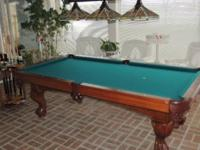"Brunswick slate pool table, 8' x 55"" depth, consists of"