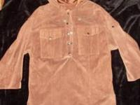 This is an awsome pig-skin pullover, lined hooded