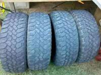 Set of 265/70/17 Buckshot mud tires. No plugs or