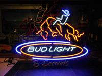 Bud Light Beer 8 Second Bull Riding Neon with motion.