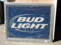 LARGE BUD LIGHT MIRROR FOR SALE. THE PRICE IS $40.00.