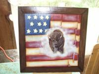 Hand painted Buffalo and Flag. Painted frame look.