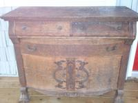 antique oak claw foot buffet for dish and table ware