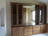 "Custom-made Built 1/2"" thick Solid Oak Buffet/Display."