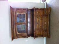 buffet, sideboard, or media cabinet with glass doors