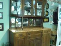 Huge Antique Buffet & Curio.  Size: 6ft. 10 inches tall