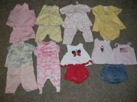 Lot includes 47 pieces of 3-6 month girl clothing. Sold