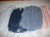 5 stocks of shirts size Large, 10 long sleeve and 20