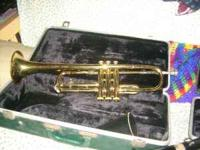 older trumpet and mouthpiece --with hard plastic case