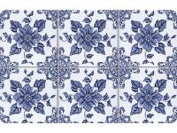 Multi Color 18 in. x 27 in. Neoprene Delft Floral Door