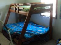 Nice, solid, sturdy, wood bunk bed. Mattresses