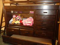 bunk bed for sale... good condition. . 7 drawers, built