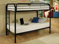 "This 2"" Black Steel Tube Twin/Twin Bunk Bed is sure to"