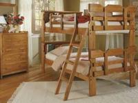 NEW SOLID HONEY PINE TWIN OVER TWIN BUNK BEDS WITH IN