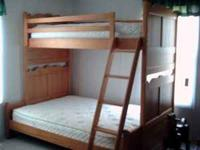 Bunk beds from Rooms to Go. Extended bed, ladder on