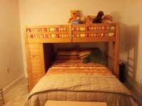 Wooden bunk bed for sale. Includes mattress for both