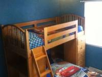up for sale is a solid wood bunk bed. I bought new beds