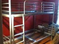 metal ikea bunk beds(brushed silver color) 2 years old,