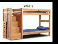 American made. Solid wood bunkbed twin over twin with
