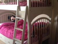 Girls white bunkbed set with desk, hutch, mattresses