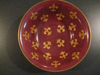 Beautiful burgandy decorative bowl gold fleur de lis