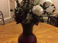 Beautiful burgundy glass Vase/artificial