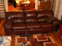 For sale is a three piece leather set. Once couch, a