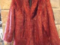 Women's Size 1x Red Burgundy Faux Fur Coat  This would