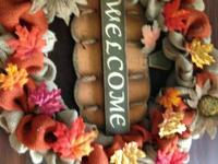 Two burlap fall wreaths for sale. $55.00 each