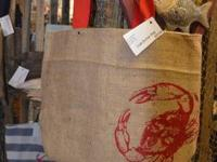 Gorgeous Burlap bags with crab or anchor stenciled