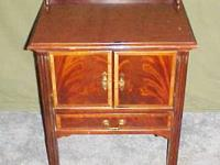 BURLED CHERRY ACCENT TABLE W CABINET & DRAWER GREAT FOR