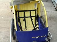 A Burley bike trailer with harness seat belts for two