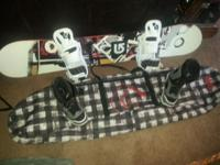 166cm Burton snowboard and Burton freestyle Bindings