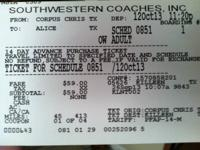 I have a bus ticket that i bought for  59.00 plus tax,