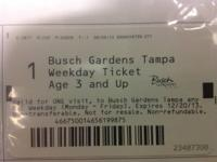 I have two (2) weekday Tampa Busch Gardens theme park