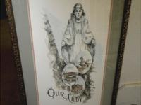 "Very nice framed art print of ""Our Lady of the Rockies"""