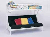 *White metal C-Shaped Futon Bunk Bed with full futon