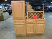New SOLID WOOD cabinets with 2 base cabinets and 1