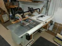 "Cabinet table saw, 10"", 3 hp, single phase, left tilt."