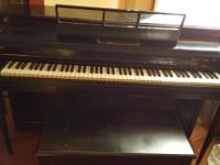 Cable & Nelson upright piano and stool. Good condition