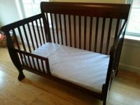 Converts from baby crib to young child bed and more.