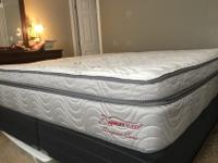 Near new CA King Mattress & Box, Euro Pillowtop.I work
