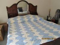 California king water bed with 6 drawer pedestal and