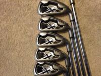 Callaway x20 uniflex steel shaft. The pitching wedge is