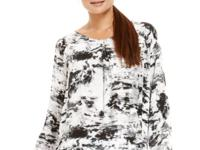 An abstract print enlivens Calvin Klein Jeans easy top.